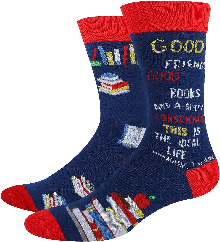 HAPPYPOP Men's Math Book Chemistry Rocket Socks, Novelty Fun Gift for Nerd Genius Teacher Student