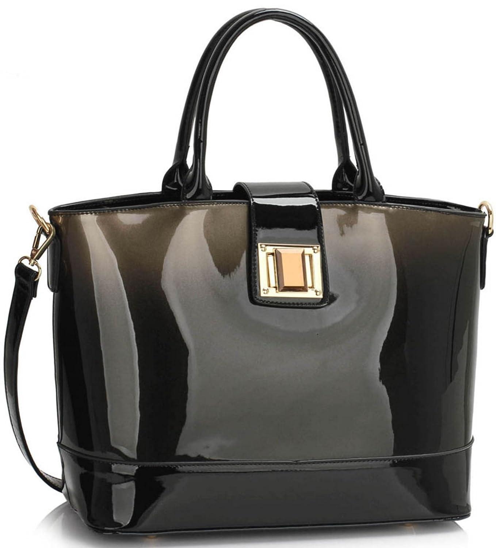 LeahWard Patent Two Tone Bags For Women Nice Ladies Tote Shoulder Bag  Handbag 329 7a6bf4ea6eceb