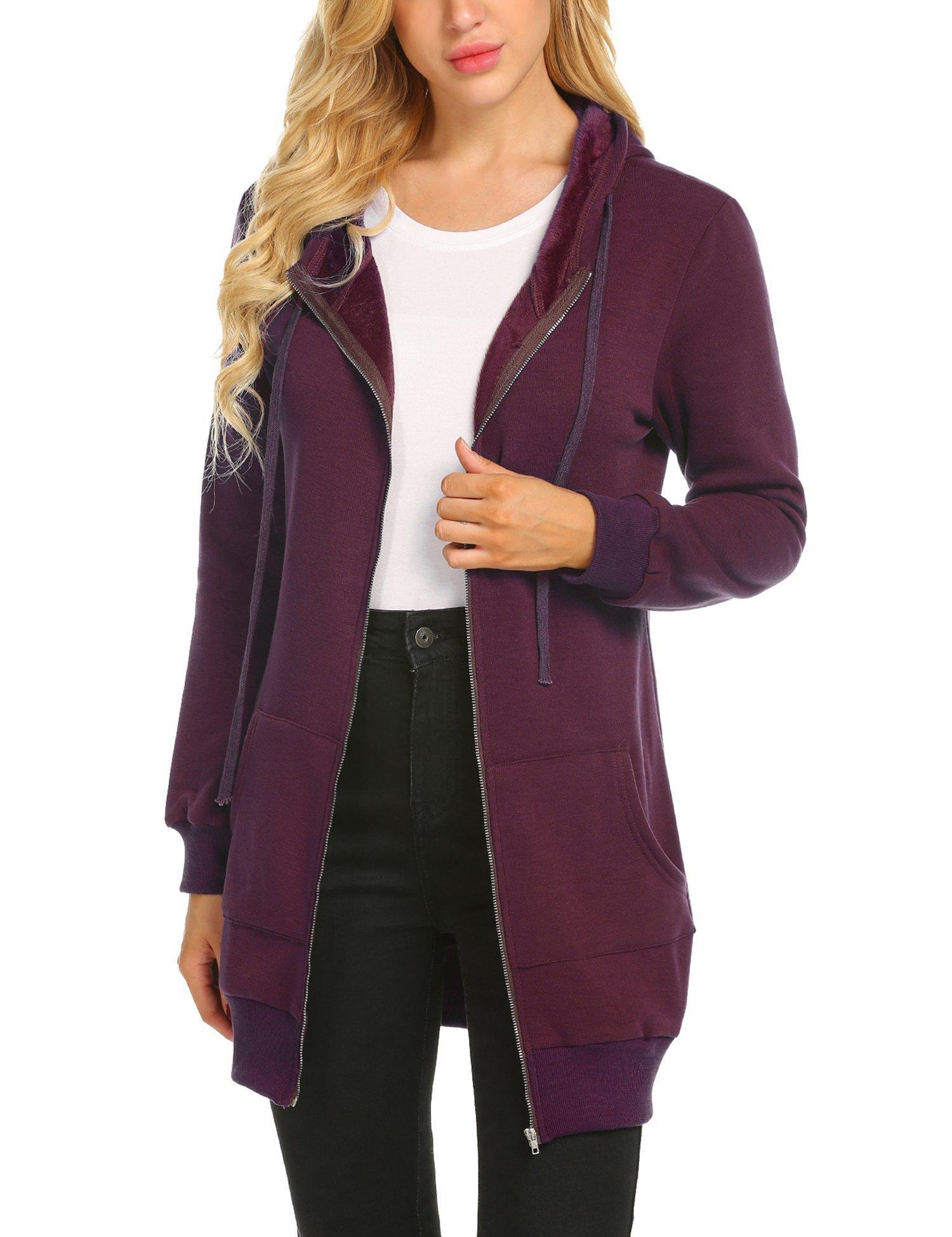 Zeagoo Women's Hooded Zip-Front Fleece Sweatshirt,Wine Red,XL