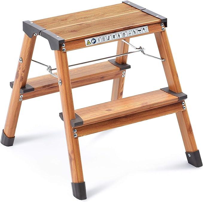 kingrack Taburete de escalón de Aluminio de Doble Cara, Escalera de diseño Plegable con pies Antideslizantes, Escalera Ligera con diseño de Madera escandinava. WKUK2272: Amazon.es: Hogar