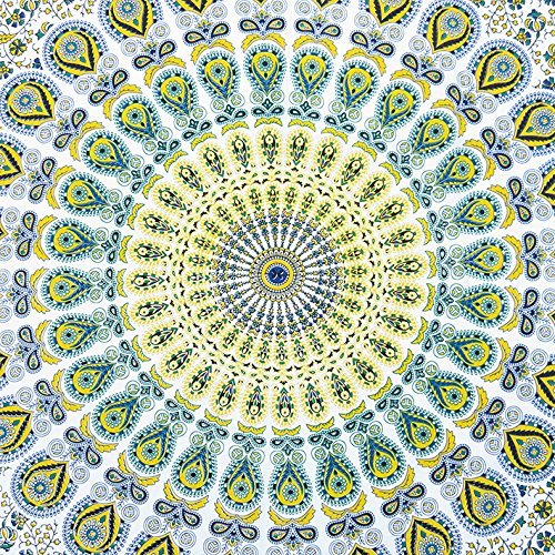 JHC's Twin White Yellow Indian Hippie Mandala Tapestry Art Bedspread Beach Dorm Bohemian