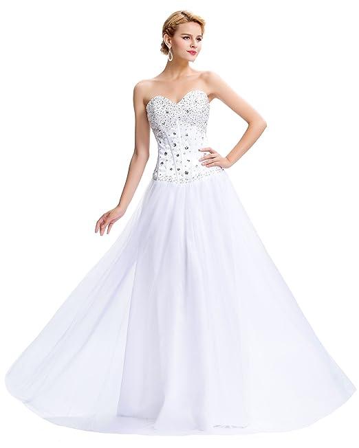 GRACE KARIN Vestido de novia para mujer, color blanco, talla 38