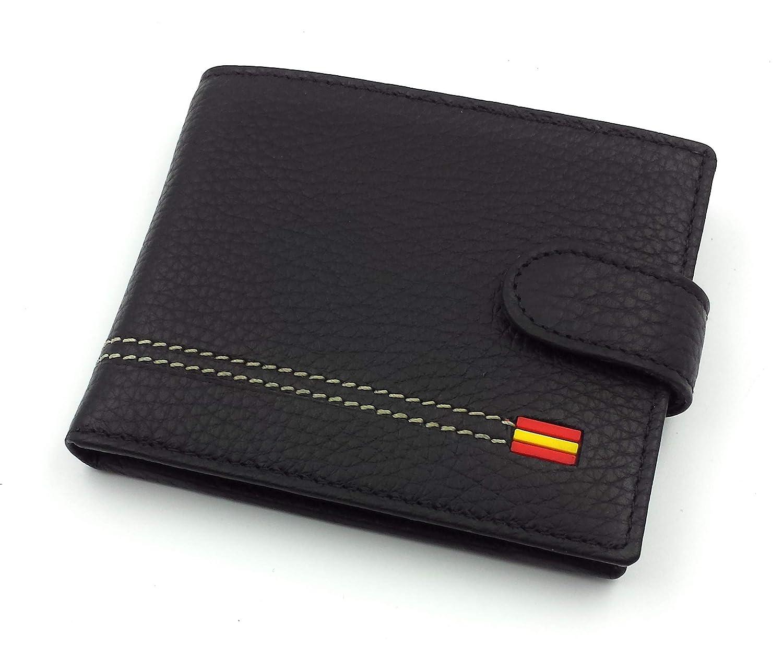 FJR-ArtPiel - Cartera, billetera, tarjetero, monedero tipo americano Piel Ubrique con bandera de España y cierre de trabilla - Alta Calidad - Negro