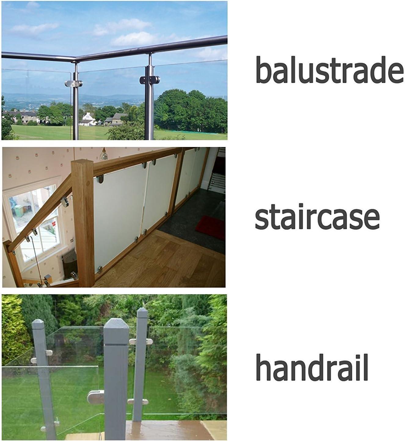 Zintec Steel Metal Balustrade Glass Clamp Clip Glazing /& Handrail Metal Bracket