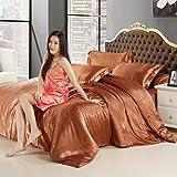 Kesoto 品質保証 柔らかい ソリッドカラー サテンシルク 寝具 羽毛 布団カバーセット シーツ 枕カバー シングルサイズベッド 1.2メートルのベッド対応 全7色 - コーヒー