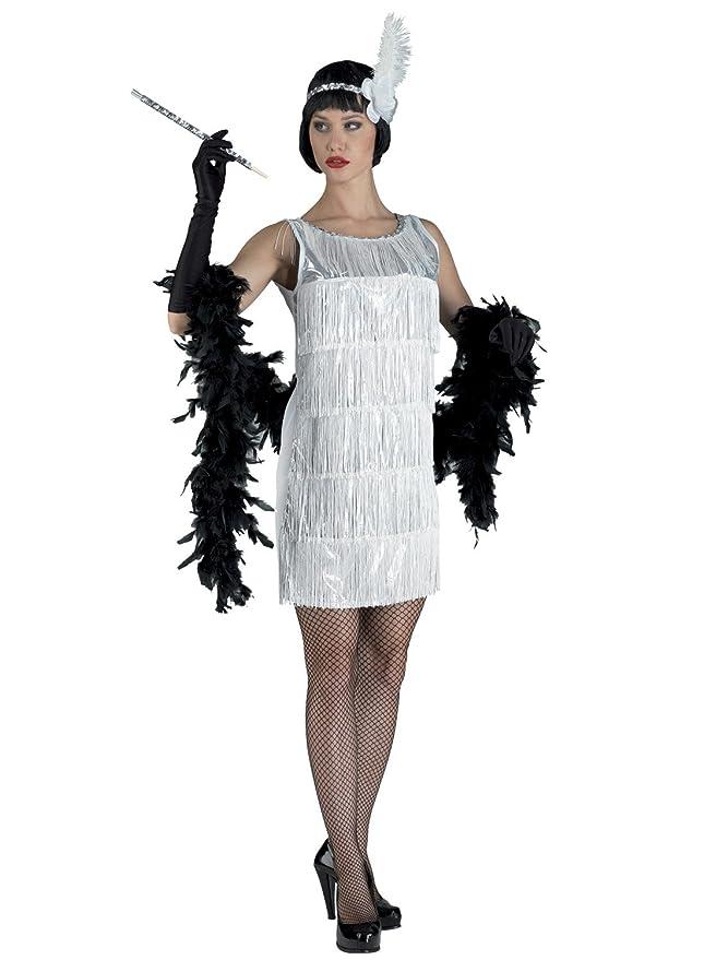 chiber Disfraces Disfraz de Charlestón Flecos Blancos. Talla Única ...