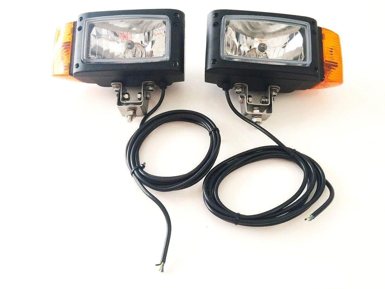 Lot de 2 phares avec clignotants universels John Deere JCB Merlo 12 V