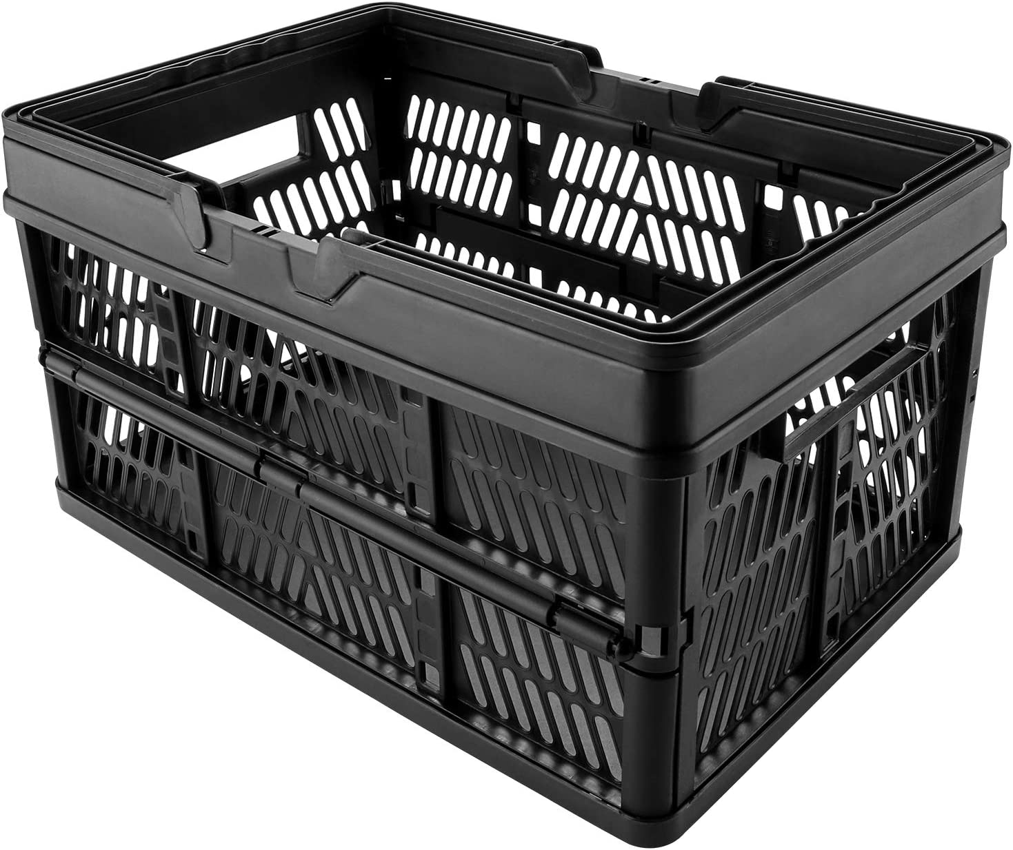 DEAOTEK 19 Liter Folding Storage Crate - Collapsible Shopping Basket with Handles Stackable Storage Bins Plastic Foldable Container, for Milk Toys Food Clothes Tools Files, Pack of 1