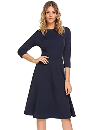 7b1e0ddfc4 Zeagoo Women Elegant A-Line Midi Casual Flared Dress With Back Zipper, Navy  Blue