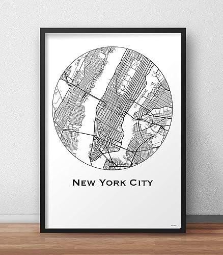 Cartel New York USA Minimalista Mapa - City Map, decoración ...