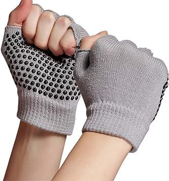 Kingnew - Guantes de yoga suaves de algodón, antideslizantes, para muñequera, para gimnasio, equitación, moto, conducción, culturismo, entrenamiento (gris): Amazon.es: Deportes y aire libre