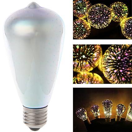 Amazon.com : Misright E27 ST64 Colourful 3D Star Shine Decoration LED Light Bulb Multiple Reflection Alluminum Plated Glass : Garden & Outdoor
