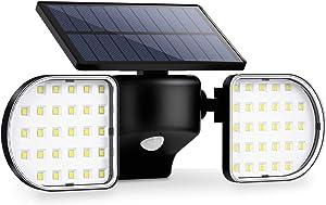 OUSFOT Solar Security Light Motion Sensor Outdoor 56 Led Solar Flood Light Dual Head Spotlights IP65 Waterproof 360 Degrees Adjustable Solar Wall Lights for Patio Front Door Yard Garden Garage Deck