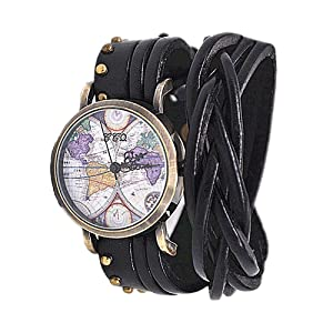 MINILUJIA Women Watches Soft Leather Wrap Arond Watch Traval Word Map Watch Men Watch Brown/Black (15.95' Length)