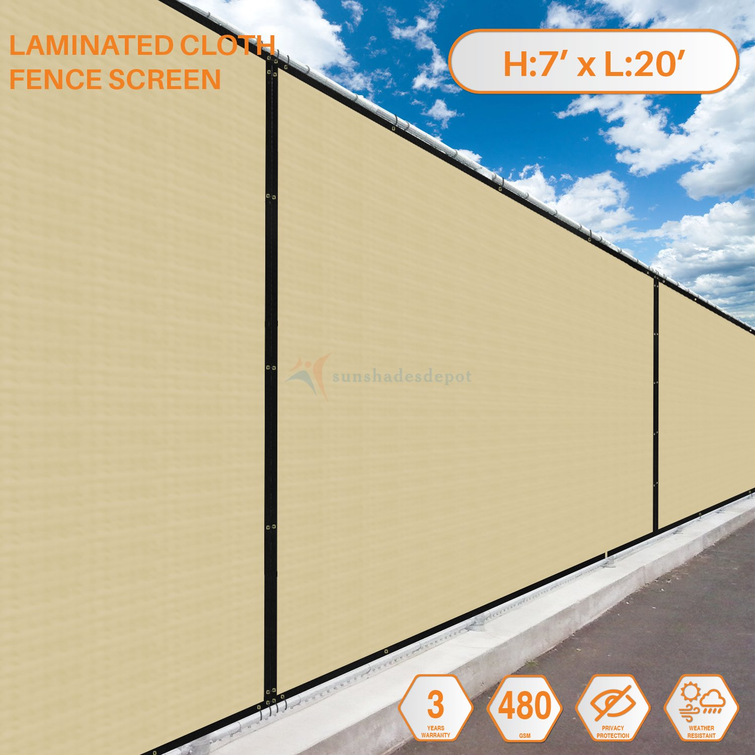 Sunshades Depot 7' FT x 20' FT Beige Tan Solid Vinyl Coated Polyester Mesh Fence Screen Residential Commercial Privacy Fence Screen Custom Available 3 Years Warranty 480 GSM 100% Blockage