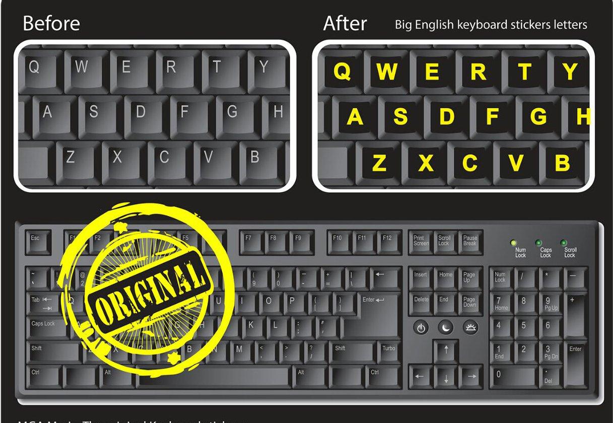 Ordenador teclado pegatinas DE LETRAS para PC - gran neón - trabajo fácilmente y el tipo más rápido incluso en espacios de poca luz.