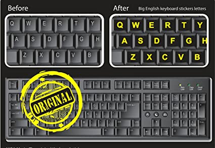 f7d42c4aa11 Computer Keyboard stickers for PC - LARGE NEON LETTERS - Work easily and  type faster even