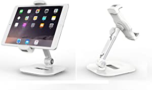 "LEDETECH Sturdy Smart Device Holder/Tablet Mount, 360° Swivel Metal Base Tablet Stand & Phone Holder with Bracket Cradle Clamps 4-13"" Devices for Kitchen, Office Desk, Showroom (Pearl White)"