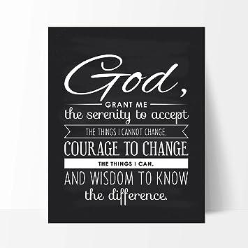 God Grant Me The Serenity Quote Unique Inspirational Gift Motivational Art Print Christian Art Prints 8×10