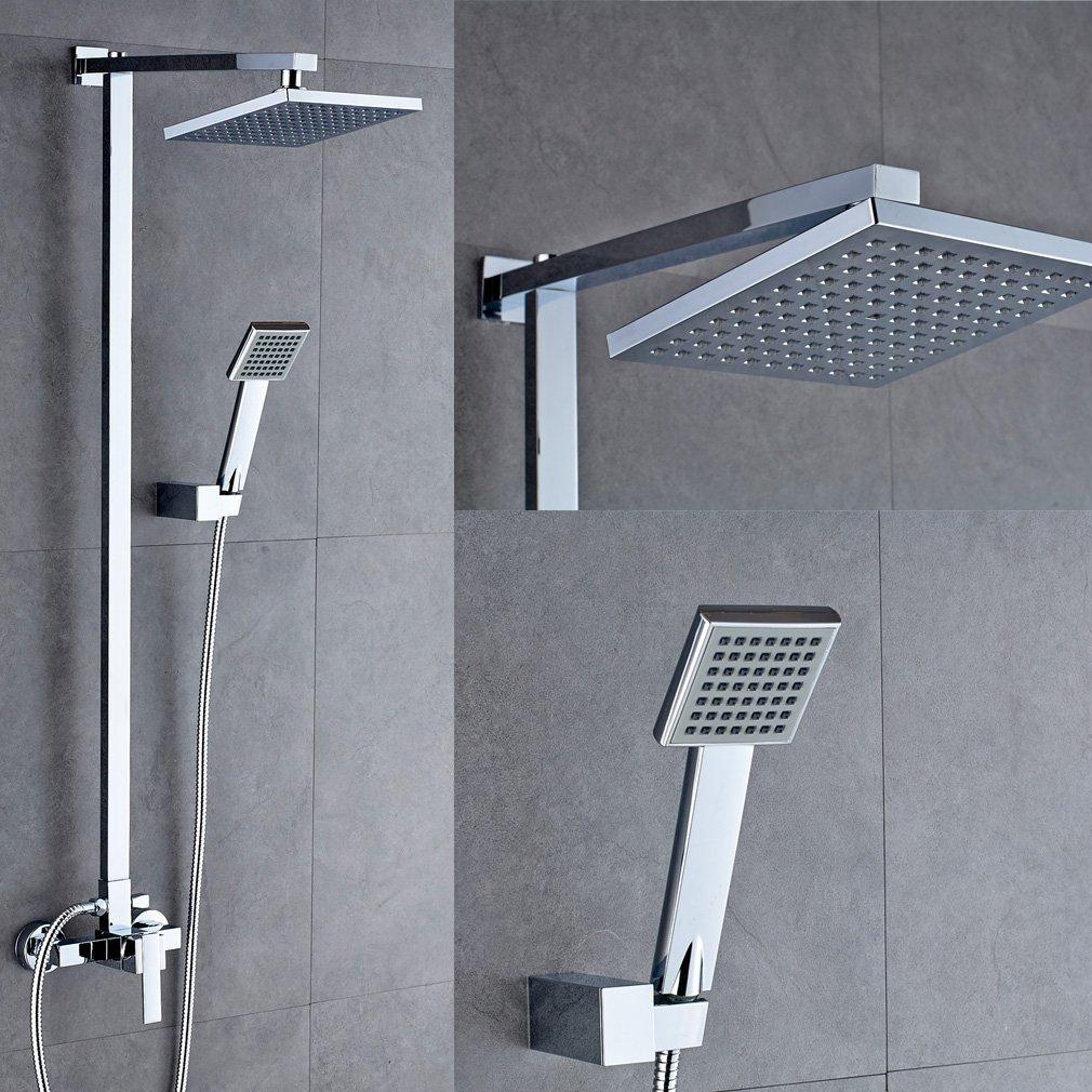 auralum duschsystem dusche set duschkopf regenbrause handdusche mit schluche aus edelstahl amazonde baumarkt - Hansgrohe Wasserfall Dusche