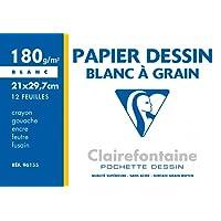 Clairefontaine - 96155 - Pochette de 12 Feuilles Papier à Dessin - Format A4-180 g - Blanc