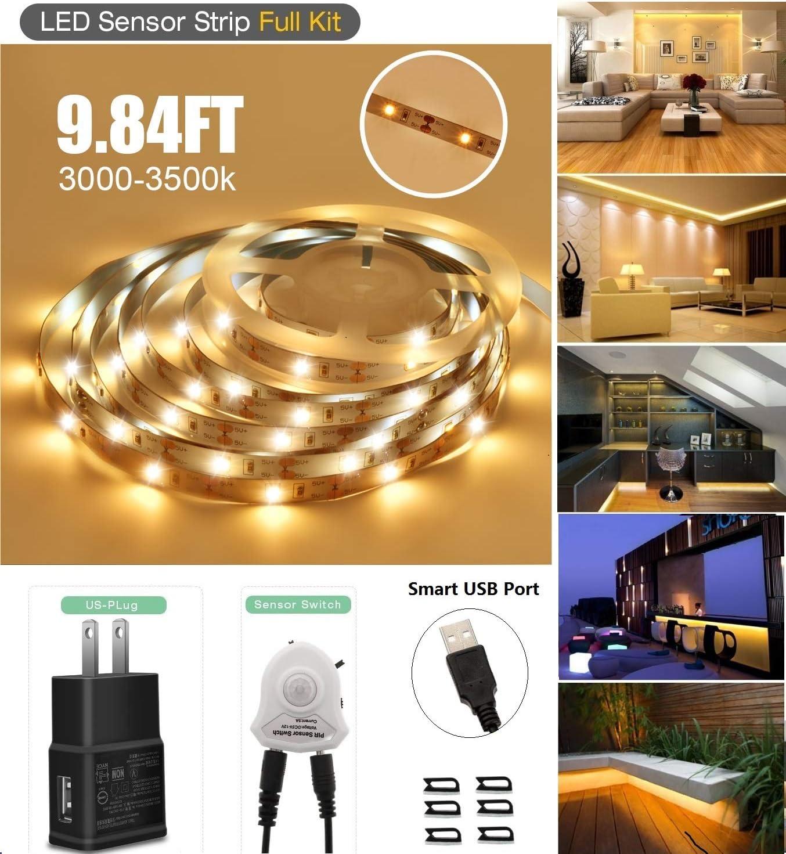 LED Strip Light, Topled 9.84ft Motion Sensor LED Tape Light Under Bed Cabinet Night lighting, Brightness adjustable 2835 LED Rope light for Home, Hallway, Bedroom, Kitchen, Entrance (3000K Warm White)