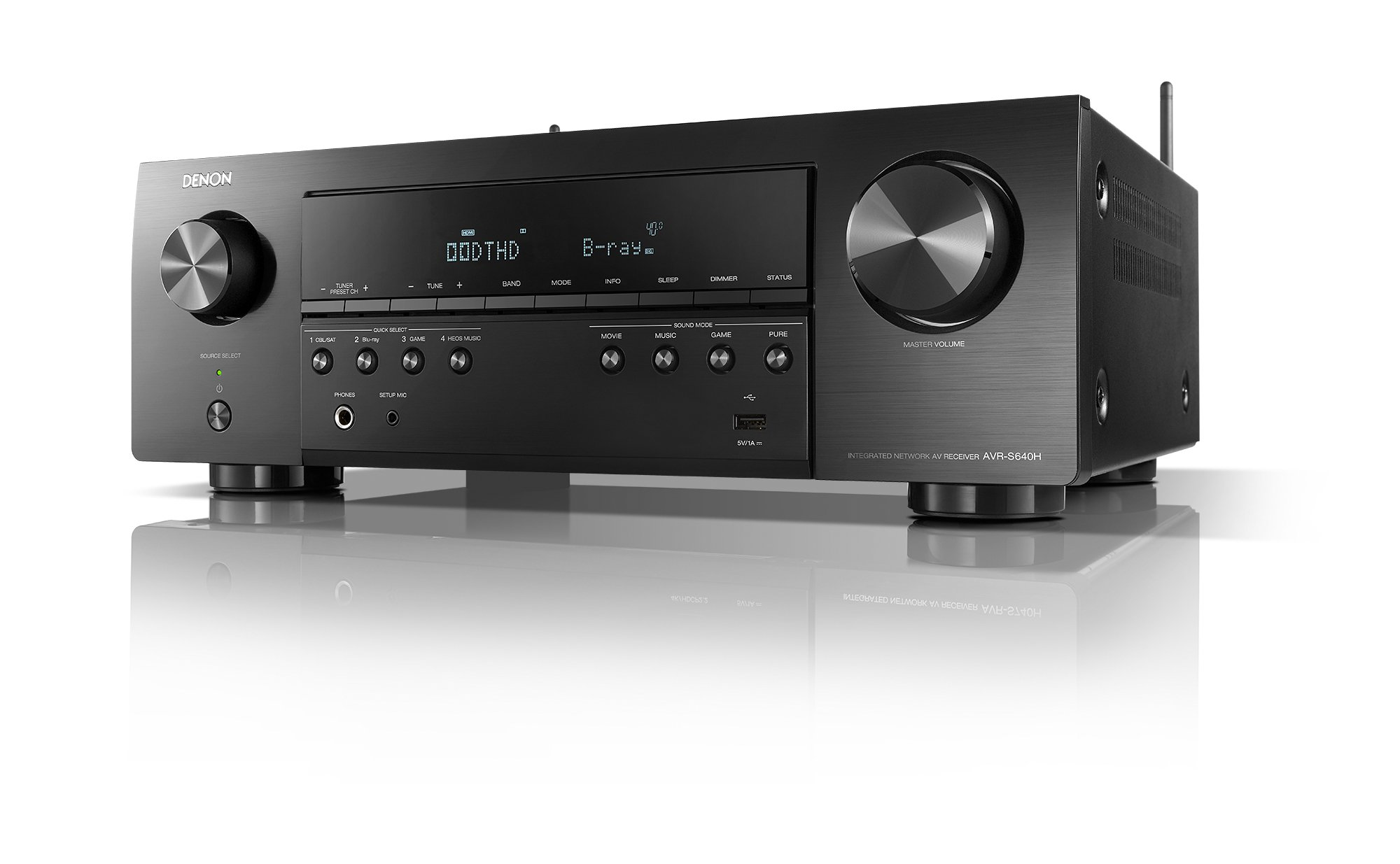 Denon AVR-S640H Audio Video Receiver, 5.2 Channel 4K Ultra HD Home Theater Surround Sound and Music Streaming System - Wi-Fi, Bluetooth, Airplay, Alexa and HEOS Wireless Speaker Expansion Built In by Denon (Image #1)
