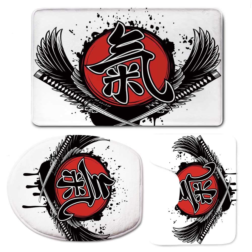 YOLIYANA Japanese Bathroom 3 Piece Mat Set,Crossed Samurai Swords Wings with Old Feudal Japan Military Hieroglyph Emblem Print for Indoor,F:20'' W x31 H,O:14'' Wx18 H,U:20'' Wx16 H