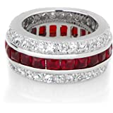 Triple Row Red CZ Eternity Band Ring