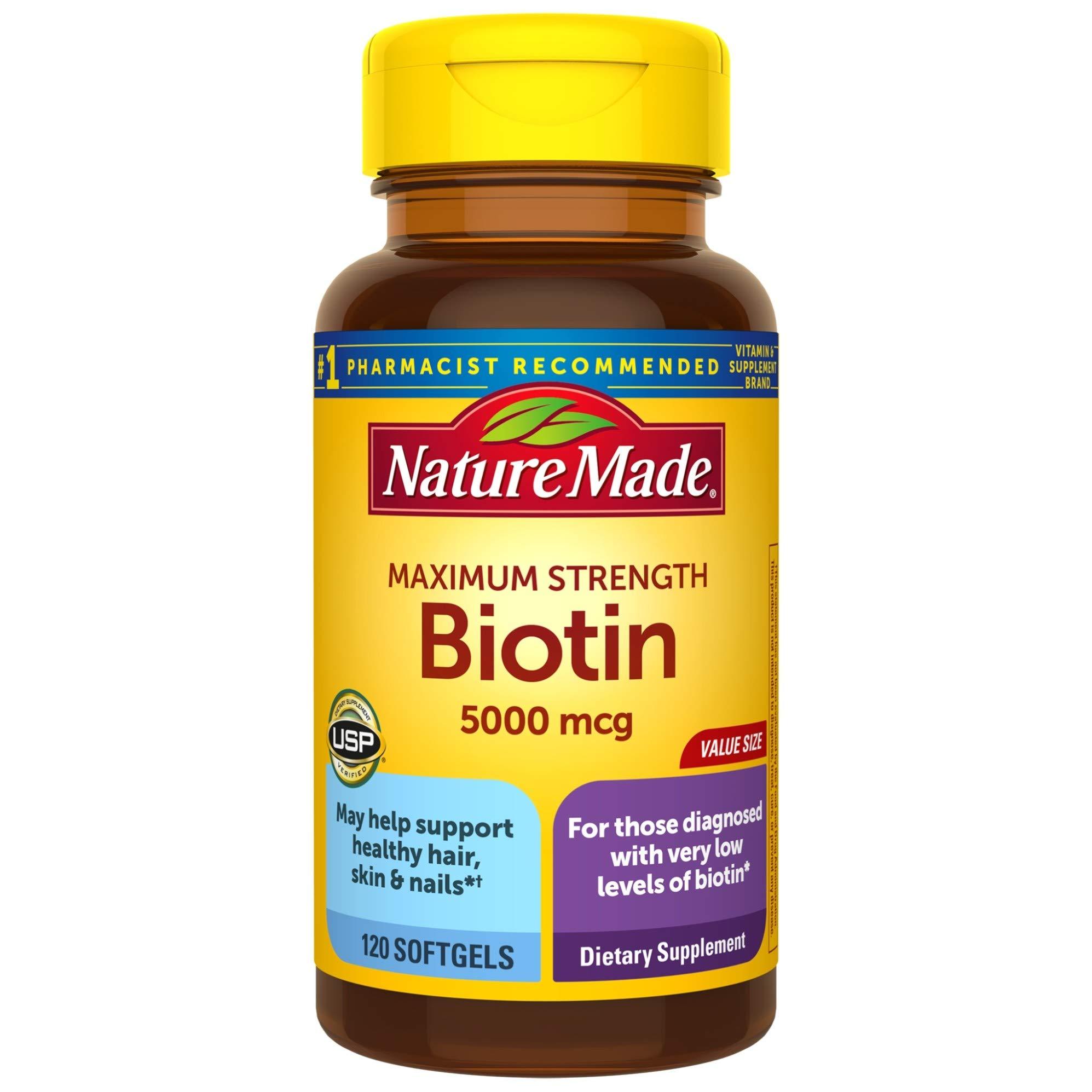 Nature Made Maximum Strength Biotin 5000 mcg Softgels, 120 Count Value Size