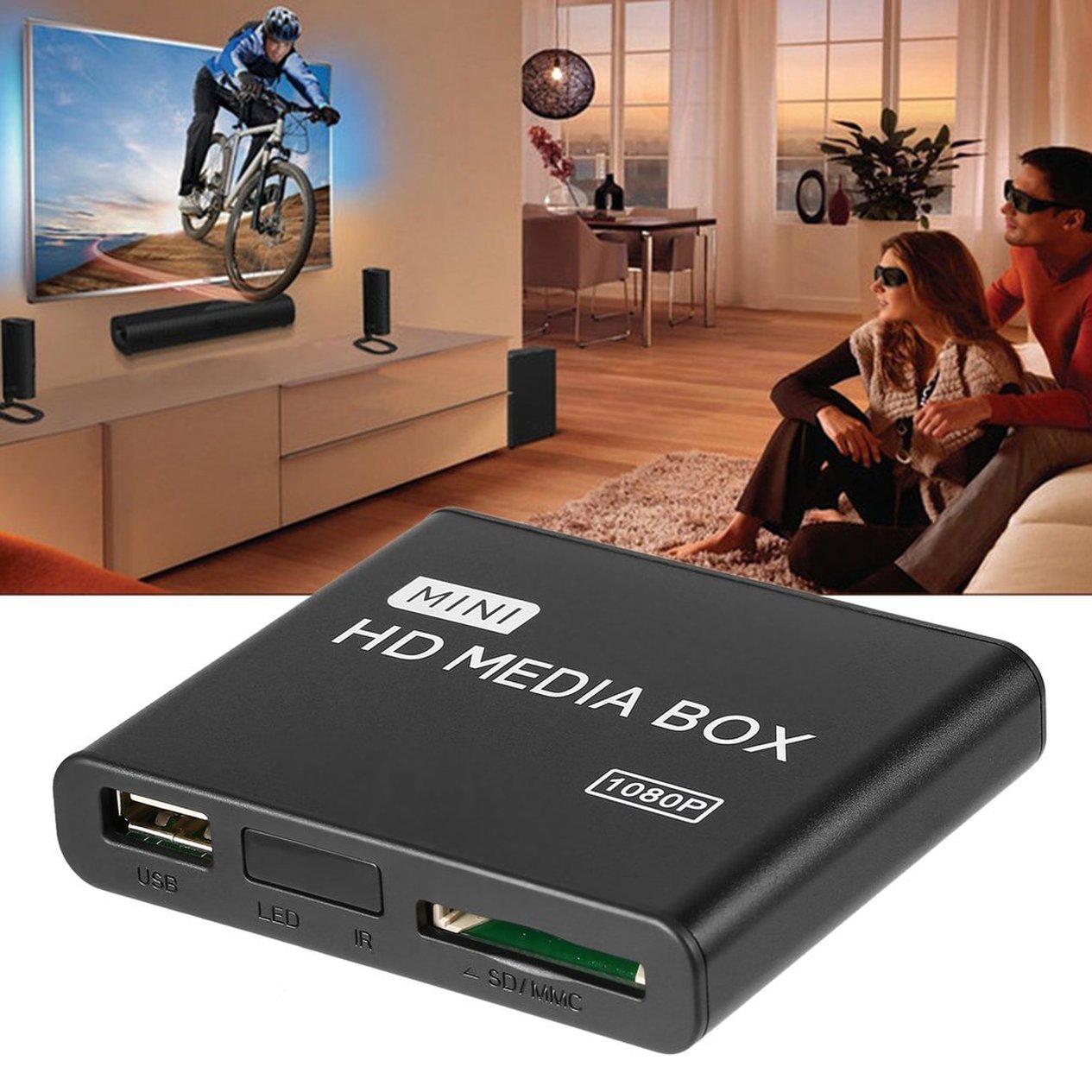 HD Media Player Box Mini Full 1080p MPEG//MKV//H.264 HDMI AV USB Supporto remoto MKV//RM-SD//USB//SDHC//MMC HDD-HDMI