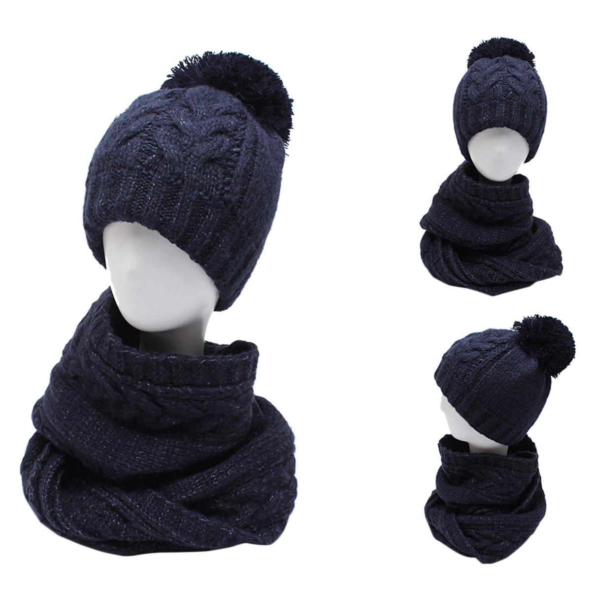 Butterme Cappello in maglia calda degli uomini e cerchio sciarpa Set Set invernale di sci invernale ...