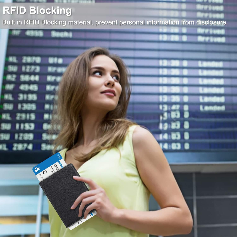 Fintie Passport Holder Travel Wallet RFID Blocking PU Leather Card Case Cover, Black by Fintie (Image #7)