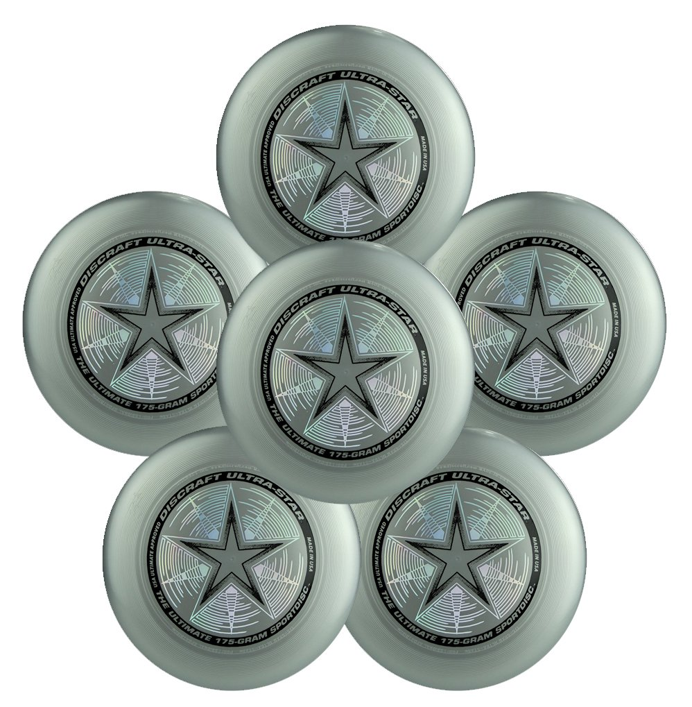 Discraft Ultra-Star 175g Ultimate Frisbee Sport Disc (6 Pack) Choose Color (Silver) by Discraft