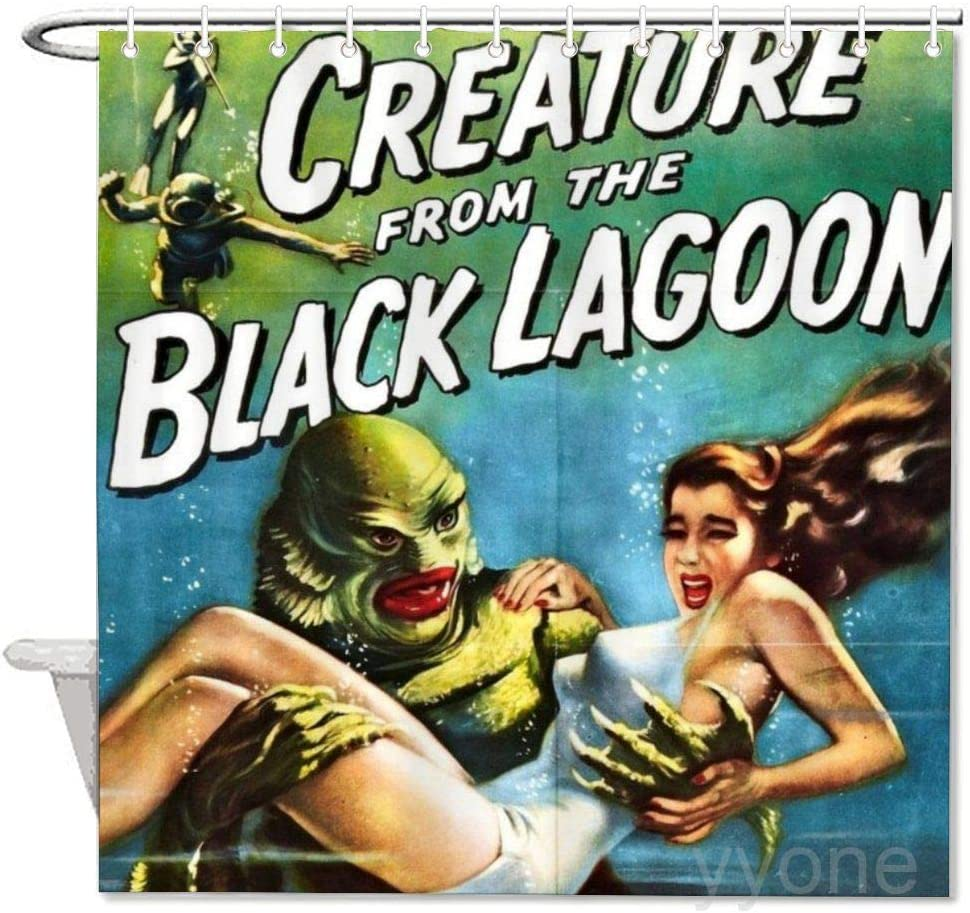 """yyone Creature from The Black Lagoon, Vintage Horror Movie Poster Polyester Waterproof Fabric Bath Curtain with Hooks,Shower Curtain for Bathroom Decor 72"""" X 72"""""""