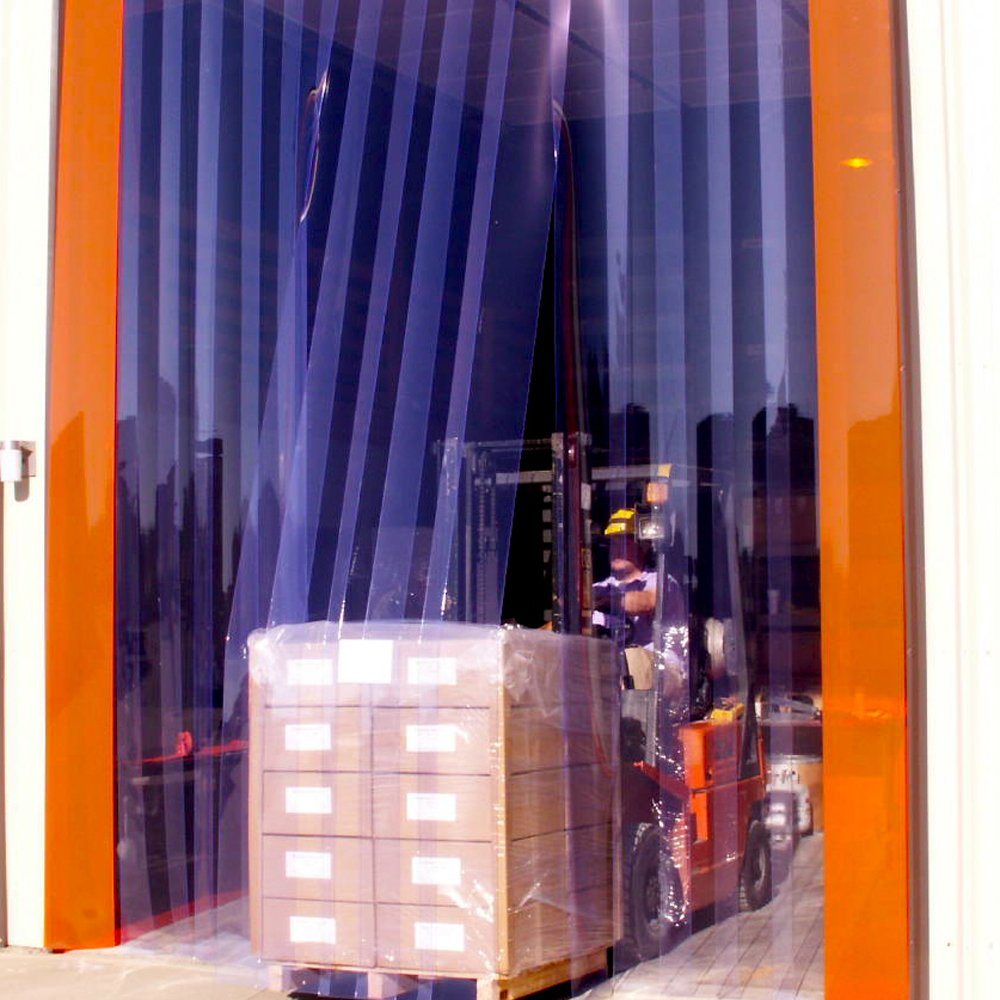 Steel Guard Safety PVC Strip Curtain Door - PVC Strip Door Kit - H- 10' x W- 12' - 12'' Strips, 66% Overlap -Steel Guard Safety