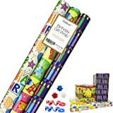 Birthday Gift Wrap - Gift Wrapping Paper - Premium Gift Wrap - 2.5 FT x 10 FT per Roll , Includes 3 Bows, 2 Ribbons