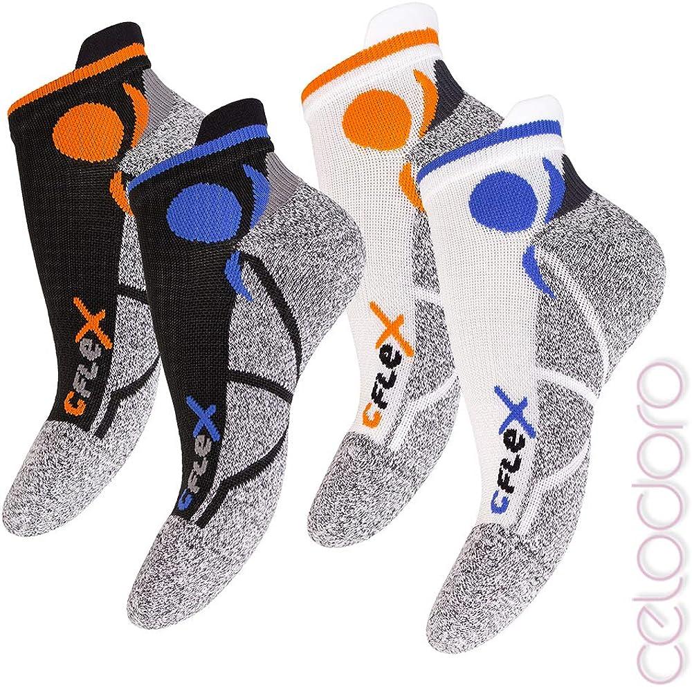 Tallas de la 35 a la 46 Amortiguadores 4 pares de calcetines tobilleros para correr unisex de apoyo y climatizados Gran calidad celodoro CFLEX protectores