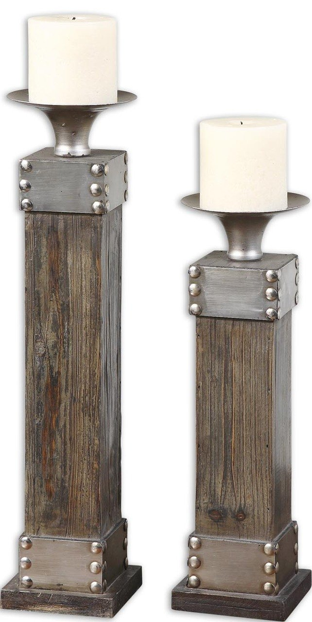 Rustic Wood Silver Metal Candle Holders | Cottage Industrial Candlesticks Set