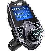 VicTsing Transmisor de FM, Transmisor de FM Bluetooth Adaptador de Radio Juego de Coche con 5V 2.1A Cargador de Coche USB Reproductor de MP3 Soporte TF Tarjeta USB Flash Drive-Gris