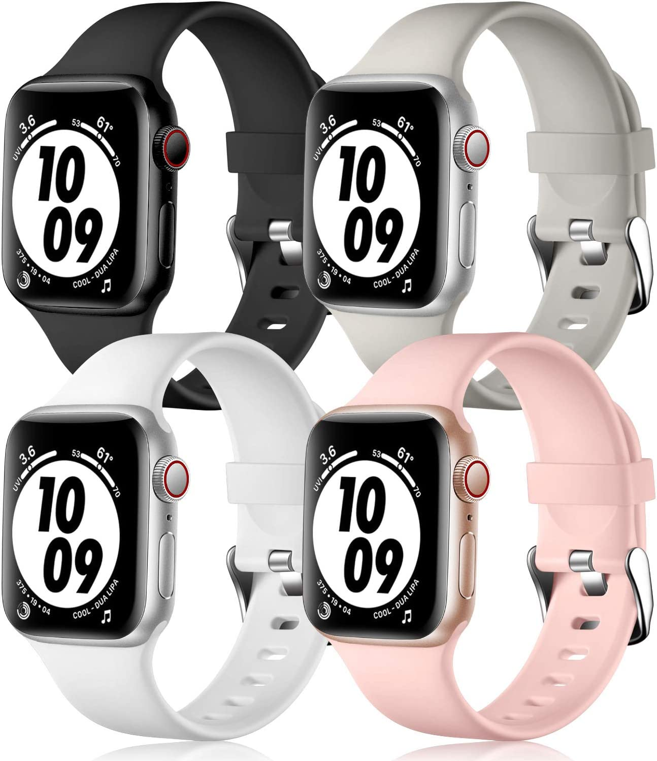 Getino Silicone Bands Compatible for iWatch Bands 38mm 40mm, Soft and Durable Apple Watch Sport Bands Accessories, for iWatch Series SE Series 6 5 4 3 2 1, S/M Black/Pink/White/Gray