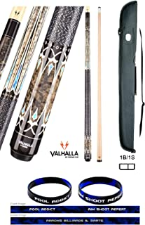 product image for Valhalla VA503 by Viking 2 Piece Pool Cue Stick Linen Wrap, HD Graphic Transfers, Nickel Silver Rings, High Impact Ferrule, 18-21 oz. Plus Cue Case & Bracelet