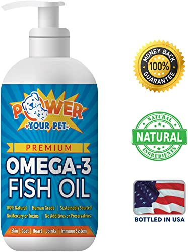 Power Your Pet Omega 3 Fish Oil for Dogs Cats Supports Healthy Skin, Coat, Joints, Kidneys, Heart Immune System – EPA DHA Nutrient Rich Fatty Acids – GMO Free – 16 oz Bottle