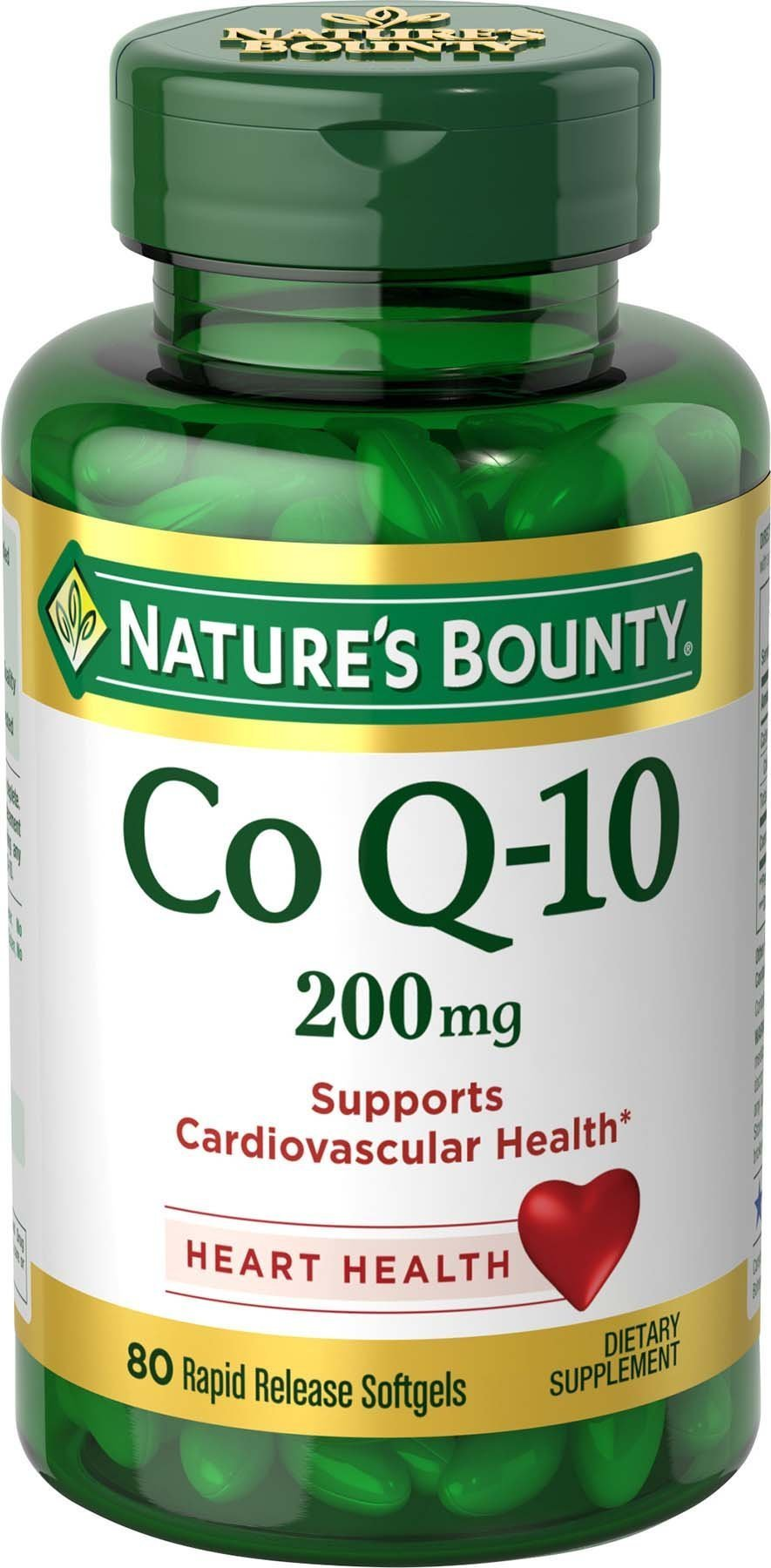 Nature's Bounty Co Q10 Pills and Dietary Supplement, Supports Cardiovascular and Heart Health, 200mg, 80 Softgels