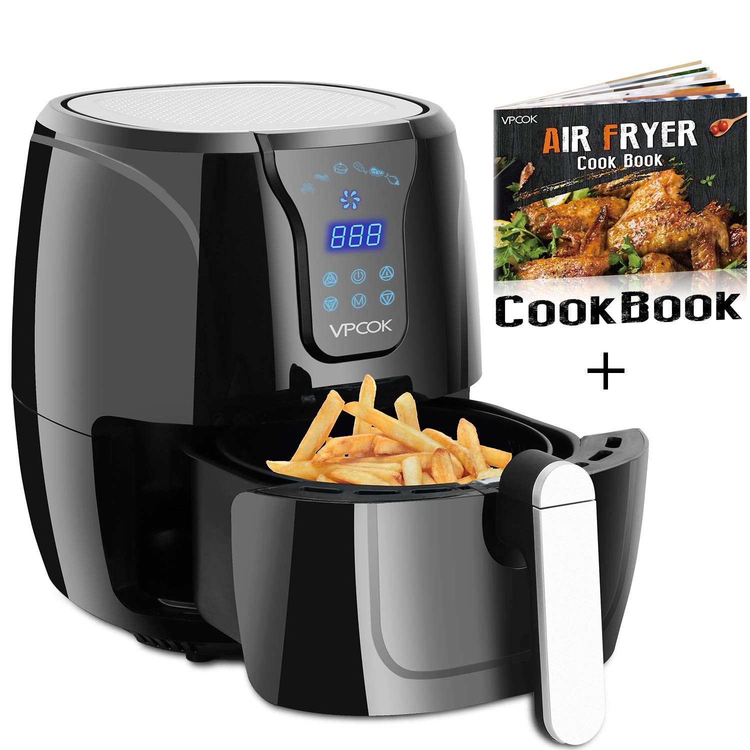 VPCOK 3.7-Quart XL Air Fryer with Recipes