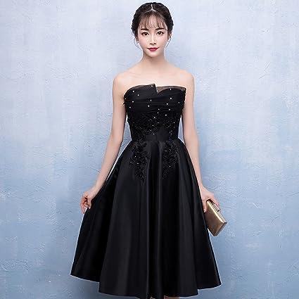 6bbe108acebb Vestido de noche Banquete Mujer Verano Sin Mangas Negro Vestido ...