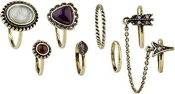 """SIX """"Trend 8er Ring Set Gold mit weißem und lila Wein rotem Stein, Blatt, Pfeil, Kettchen, Miniring, Vintage Look, Doppel Finger Ring (487-406)"""
