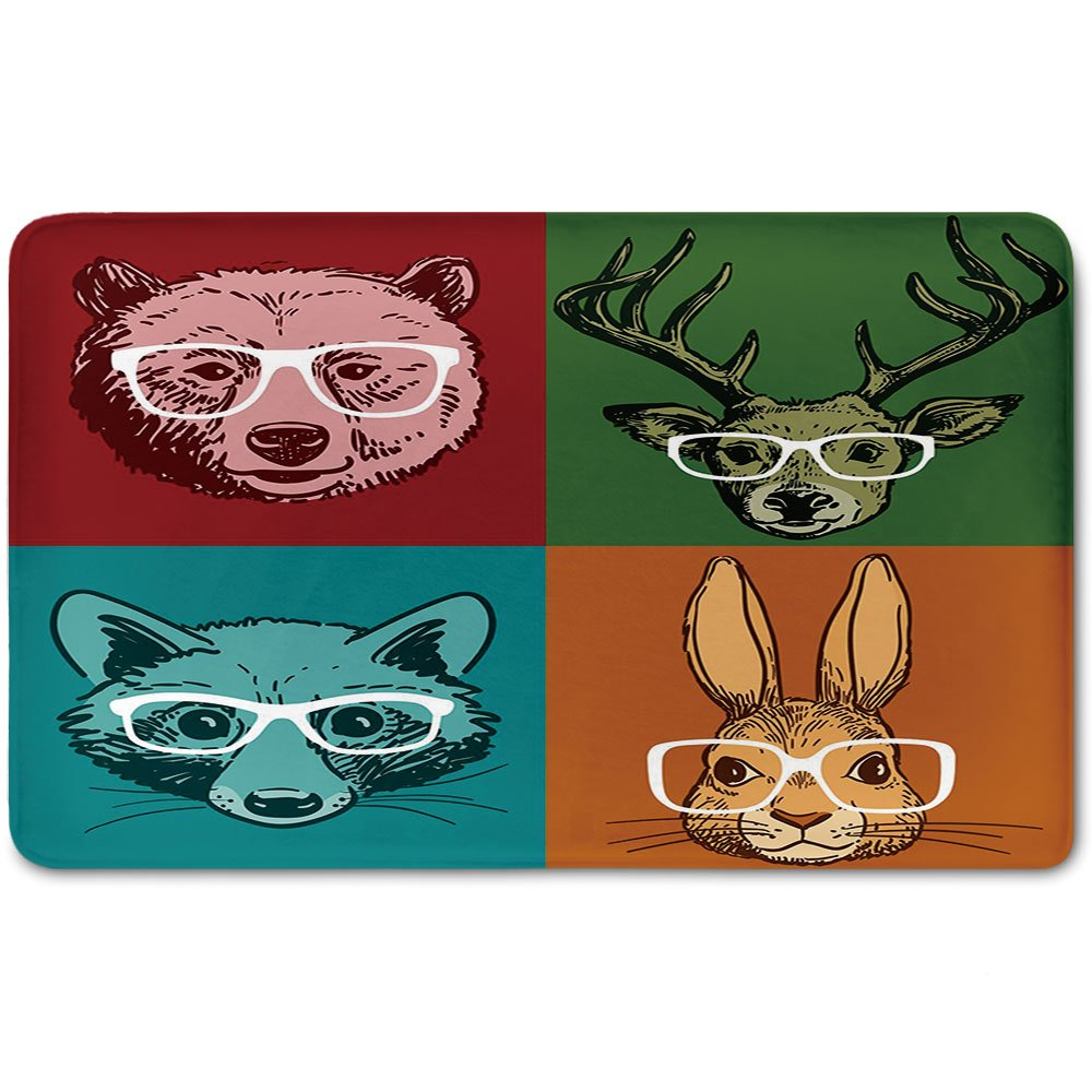 Memory Foam Bath Mat,Cabin Decor,Hipster Retro Style Funny Wild Animals Faces with Glasses Line Art Drawing DecorativePlush Wanderlust Bathroom Decor Mat Rug Carpet with Anti-Slip Backing,Multicolor