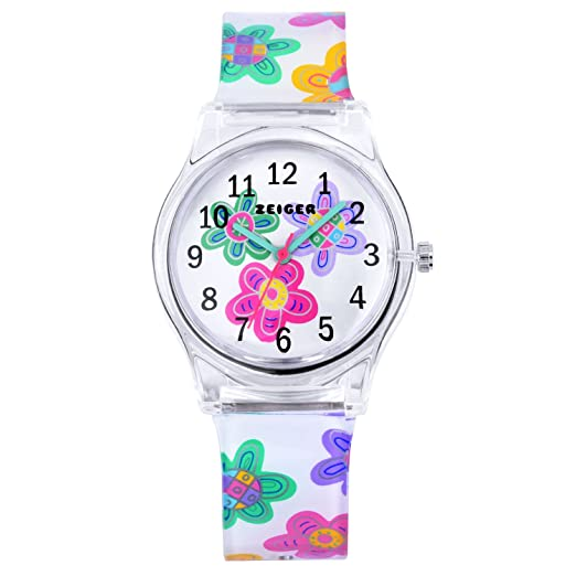 Calendario de niños reloj de cuarzo reloj analógico pulsera para niños reloj de niña de flores multicolor kw098-Flor: Amazon.es: Relojes