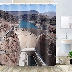 OiArt Shower Curtain, Polyester Fabric Waterproof Hooks Included-72x72 inches- Arizona Nevada Hoover Dam Reservoir Dam